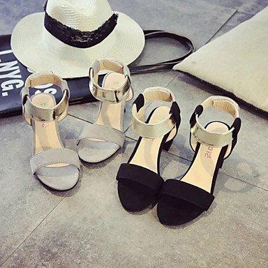 LvYuan Tacón Robusto-Confort-Sandalias-Vestido Informal-PU-Negro Gris gray