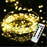 Battery Powered Fairy String Lights[Remote & Timer] 5M 50 Micro White LEDs on Silver Wire Decorative Lighting Waterproof for Outdoor and Indoor Party Wedding Birthday Home Bedroom[Energy Class A+]