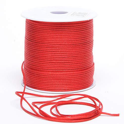 Premium Quality 2mm x 100 Yards Satin Nylon Trim Cord, Rattail, Chinese Knot, Kumihimo, (Red)