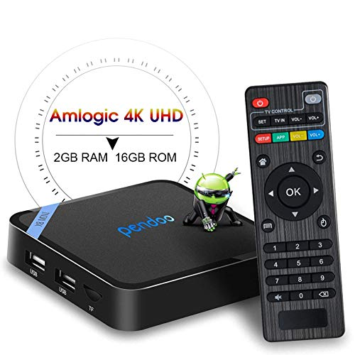 Android TV Box,2019 Updated Smallest Android Box Amlogic Quad Core 64 Bits 2GB RAM 16GB ROM WiFi/4K Ultra HD/3D/H.265 Pendoo X8 Mini Smart TV Box