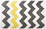 InterDesign Microfiber Chevron Bathroom Shower Accent Rug, 34 x 21, Gray/Yellow