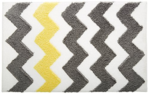 InterDesign Microfiber Chevron Bathroom Shower Accent Rug, 34 x 21, Gray/Yellow by InterDesign