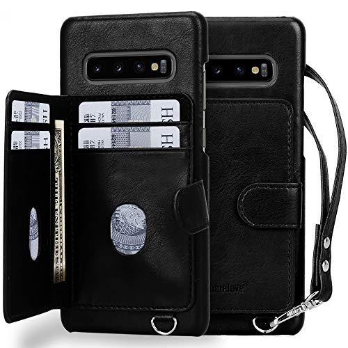 Homelove Galaxy S10 Plus Case,Galaxy S10 Plus Wallet Case, [Premium PU Leather][Card Slots][Detachable Hand Strap],Slim Scratch-Resistant Shockproof Case for Galaxy S10 Plus 6.4 (2019) Black