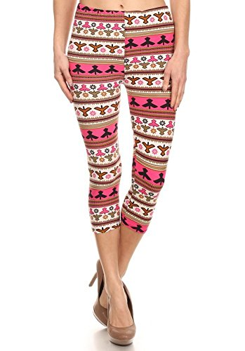 Elegant4U Junior's Pink & Grey Annaki Printed Capri Leggings (Tween Leggings)