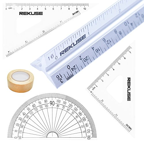 REKUSE 12'' Architectural scale, Triangular Engineer Ruler, Aluminium , Draftsman & Student + Geometry Set with Protractor + Masking Tape (Rulers Architectural Scale)