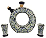 Liquor Decanter Set Tequila, Handmade and Hand Painted, Made of Baked Ceramic at High Temperature (01 Green, 3)