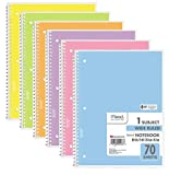 Mead Spiral Notebook, Wide Ruled, 1 Subject, Assorted Pastel Colors, 6 PACK