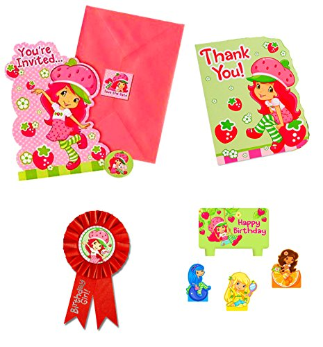 Honor Invitation Card (Strawberry Schortcake Theme Party : 8 Invitations / 8 Thank You Cards / Candle Set / Guest of Honor Ribbon. (Strawberry)
