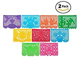 Paper Full of Wishes Multiple Pack Large Papel Picado Banner - 15ft Long/9 Panels - Mexican Party/Fiesta Decoration with Designs as Pictured by (2pk)