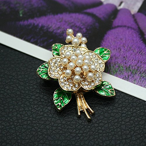 retro fashion style three-dimensional enameled green leaves pearl flower corsage brooch pin women girls (Enameled Leaf Pin)