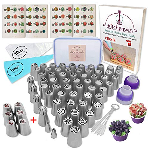 116 Russian Piping Tips Set Cake Decorations Kit Include 56 Icing Nozzles Piping,4 Sphere Ball Tips,2 leaf tips,50 Disposable Pastry Bags & Silicon Pastry Bag,Single & Tri Color Coupler,Cleaning Brush
