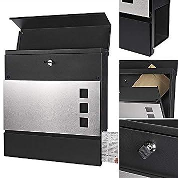 Melko Anthrazit Design Briefkasten mit Zeitungsfach aus poliertem Edelstahl 37 x 11 x 36,5 cm