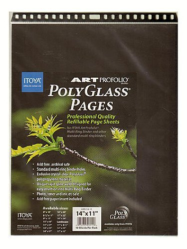 ProFolio by Itoya, Art ProFolio PolyGlass, 10-Pack Multi-Ring Binder Refill Pages - Landscape, 14 x 11 Inches