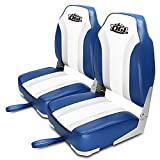 OGL 1 pair Marine Folding Boat Seats Speedboat Fishing High Back Seating with 1 pair Swivel Bas