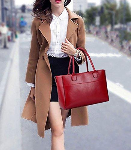 DEERWORD Shoppers mujer bolsos Bolsos para Cuero Bolsos y de PU Burdeos totes de hombro bandolera Bolsos qnfrTqW