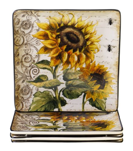 (Certified International French Sunflowers Dinner Plate, 10.5-Inch, Set of 4)