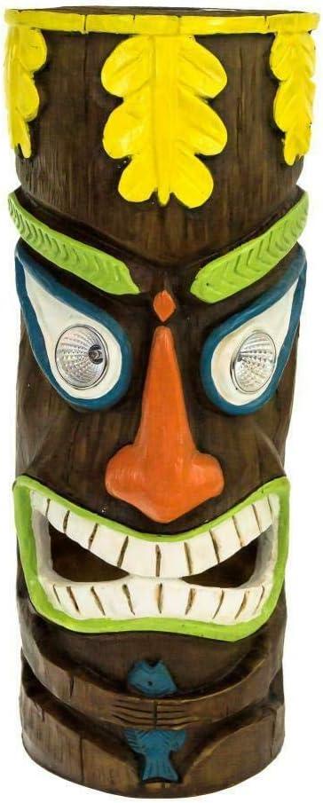 Solar Powered Totem Pole Garden Light Pathway Lamps Yellow Head + Orange Mouth