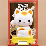 Yellow base lucky cat charm solar powered bobble head toy from Japan