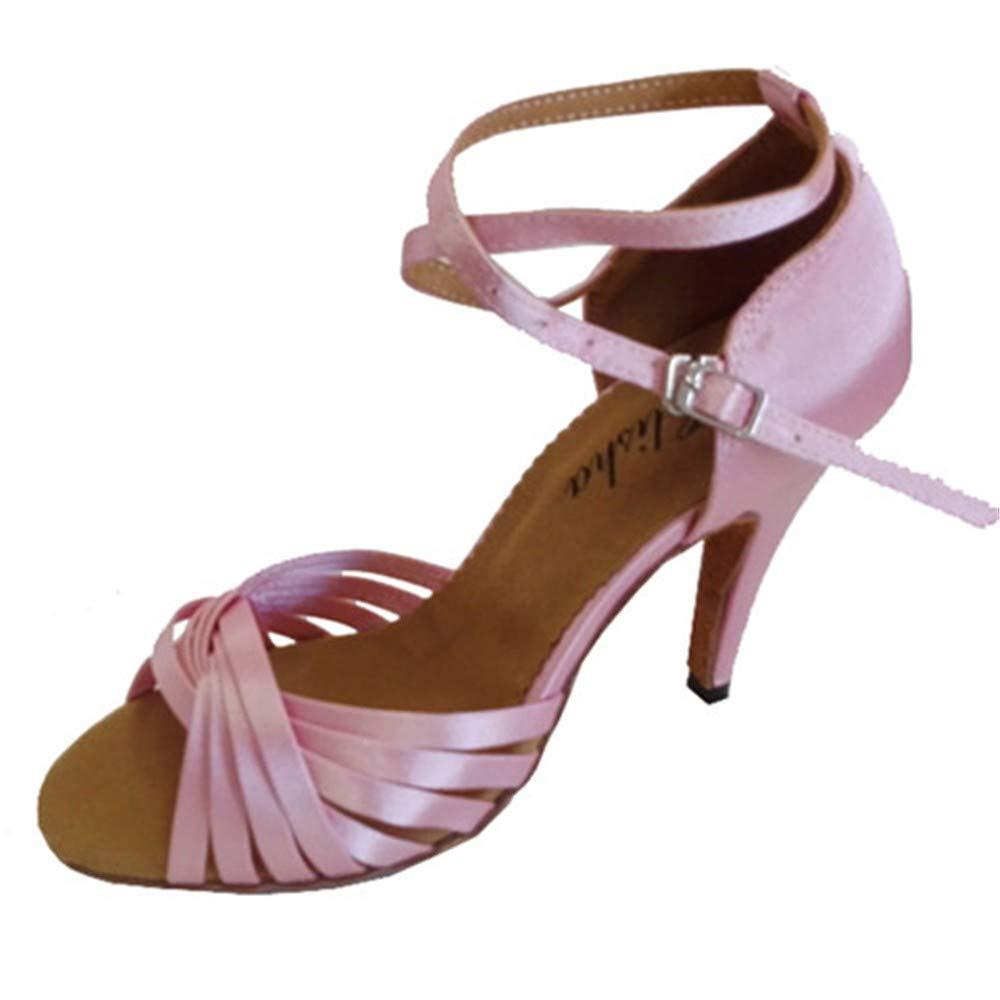 HCCY Latin Tanzschuhe Damen Indoor Leder weichen Boden Boden Boden Tanzschuhe Rosa 9c999b