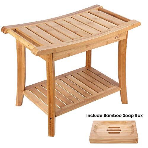 HOMECHO Tabuerte de Ducha de Bambu con Estante para Almacenamiento y Caja de Jabon Taburete de Bano Ergonomico y Antideslizante para Bano 60 x 33 x 46cm