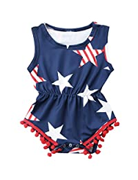 7306d2187c92 4th of July Toddler Baby Girl American Flag Tassel Pompom Romper