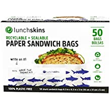 Lunchskins Recyclable + Sealable Paper Sandwich & Snack Bags, Shark, 50 Ct