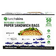 Lunchskins RB-50-SAND-SHARK Snack Recyclable + Resealable Paper Food Storage Bags Sandwich Size, Shark Box of 50, CT, Blue