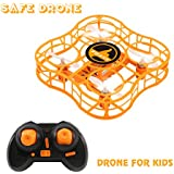 Drone for Kids Mini Safe RC Quadcopter with CF Headless Mode, Full Protection, 360 3D Flip, 4 CH 6 axis GYRO, Nano Helicopter FQ777 FQ03 CKCRC RTF Ideal Gift For Beginner Children - (orange)