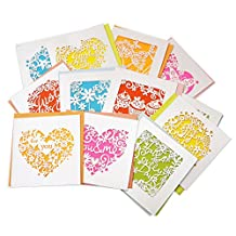 RayLineDo® 12pcs Assorted Design and color Blank Greetings Cards with Envelopes Cutout Gift Card Folding Cards for Wedding, Graduation, Bridal and Baby Shower, Birthday, Valentine and Christmas