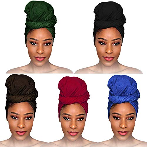 fani 5 Pieces Stretch Jersey Head Wrap Turban Stretchy Knit Turban Urban Hair Scarf Soft Solid Color Ultra Breathable Lightweight Classic African Head Wrap Extra Long Headband Tie for Women