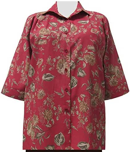 A Personal Touch Women's Plus Size Country Floral 3/4 Sleeve Tunic