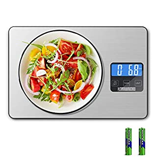 HDJUNTUNKOR Food Scale, 33lb Digital Kitchen Scale with 1g/0.1oz Precise Graduation for Cooking Baking, 5 Units LCD Display Scale, Stainless Steel and Tempered Glass