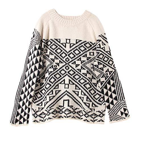 JIAKENVDE Ethnic Style Geometric Farbe Matching Pattern Totem Round Neck Knit Sweater Top Female Winter