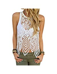 Coromose Women vest Lace Crochet Casual Sleeveless Tops