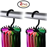 Yosoo 2 Pack 360 Degree Rotating Tie Rack Adjustable Tie Belt Scarves Hanger Holder Hook Ties Scarf for Closet Organizer Storage