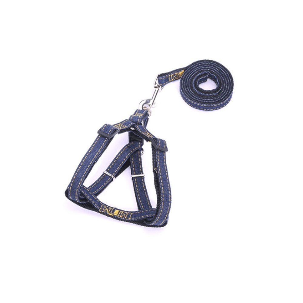 Black Medium Black Medium HEHEN Dog Harness Adjustable Denim & Nylon Traction Rope Suitable for Small, Medium and Large Dog(Black) M