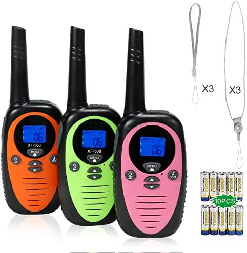 FREE TO FLY Kids Walkie Talkies Kid Toys 22 Channel FRS 2 Way Radios Party Toys for Camping/Hiking/Adventures 3.0 Miles Range Suit 6 UP Year Old Kids & Adults ( Three Packs with 9 Batteries )