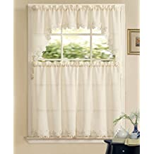3-Piece Orchard Macrame Lace Complete Tier Curtain and Swag Set, 54 by 36-Inch, Beige