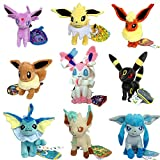 9 PCS Eeveelution Pokemon Sylveon Eevee Espeon Umbreon Jolteon Flareon Vaporeon Leafeon Glaceon Plush Toy Stuffed Animal Soft Figure Doll 7 by Generic