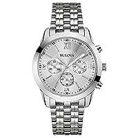 Bulova 96A163 Mens Dress Chronograph White Silver Watch