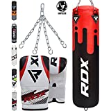 RDX Punching Bag UNFILLED Set Kick Boxing Heavy MMA Training with Gloves Punching Mitts Hanging Chain Ceiling Hook Muay Thai Martial Arts 4FT 5FT