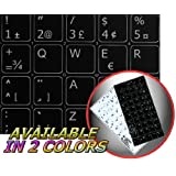 FRENCH QWERTY STICKERS FOR KEYBOARD BLACK BACKGROUND (14x14) FOR DESKTOP, LAPTOP AND NOTEBOOK