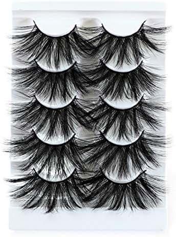 Newcally Faux Mink 25MM Lashes Synthetic False Eyelashes Messy Long Dramatic Lashes 5 Pairs