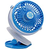 Personal Fan Mini USB Fan Rechargeable Electric Fan Battery Operated Fan Quiet Design, USB or Battery Powered( Not Included) with Clip for Baby Stroller and Table by Eshop99