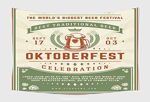 On Decor Tapestry Wall Hanging Oktoberfest Beer Festival Celebration Poster Or Flyer Template Retro Typography Oktoberfest Badge 478922914 for Bedroom Living Apartment Dorm