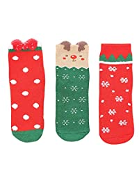 Winter Christmas Socks 3 Pairs, Thickening Terry Socks Boys and Girls Cartoon Gift Box (Color : Multicolor 01, Size : 2-4 Years)