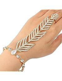 Ever Faith Peacock Feather Bridal Hand Chain Bracelet Clear Zricon Crystal