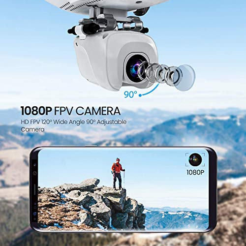 Potensic D58, FPV Drone with 1080P Camera, 5G WiFi HD Live Video, GPS Auto Return, RC Quadcopter for Adult, Portable Case, 2 Battery, Follow Me, Easy Selfie Beginner, Expert, White