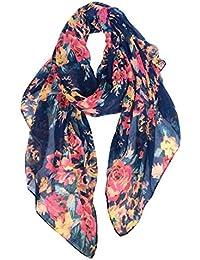 Lightweight Scarves: Fashion Flowers Print Shawl Wrap For Women
