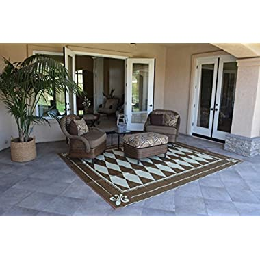 Patio Furniture Rug Regal Diamond Backyard Patio Mat Outdoor Reversible Rug (9' x 12')